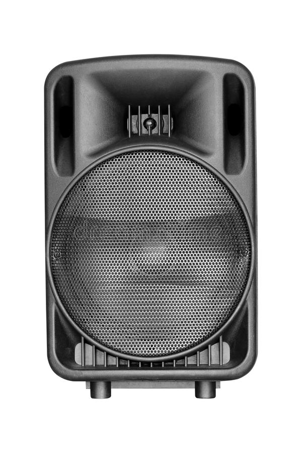 Black speaker isolated on white. Background stock photo