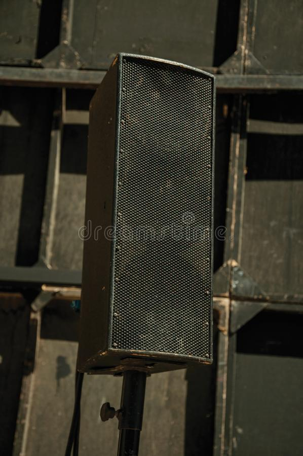Black speaker at the Roman Theater of Merida. Close-up of black speaker at the Roman Theater of Merida. Founded by ancient Rome in western Spain, the city stock image