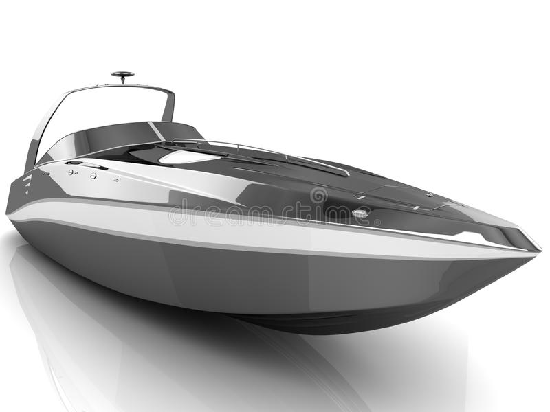 Black speedboat isolated. 3D black speedboat isolated on a white background stock illustration