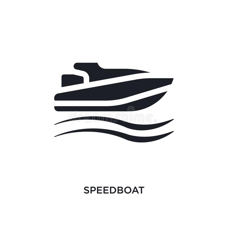 Black speedboat isolated vector icon. simple element illustration from nautical concept vector icons. speedboat editable logo. Symbol design on white background royalty free illustration