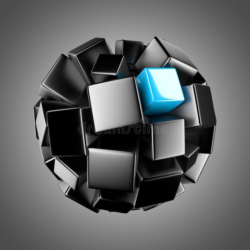 Black sphere with light blue element royalty free illustration