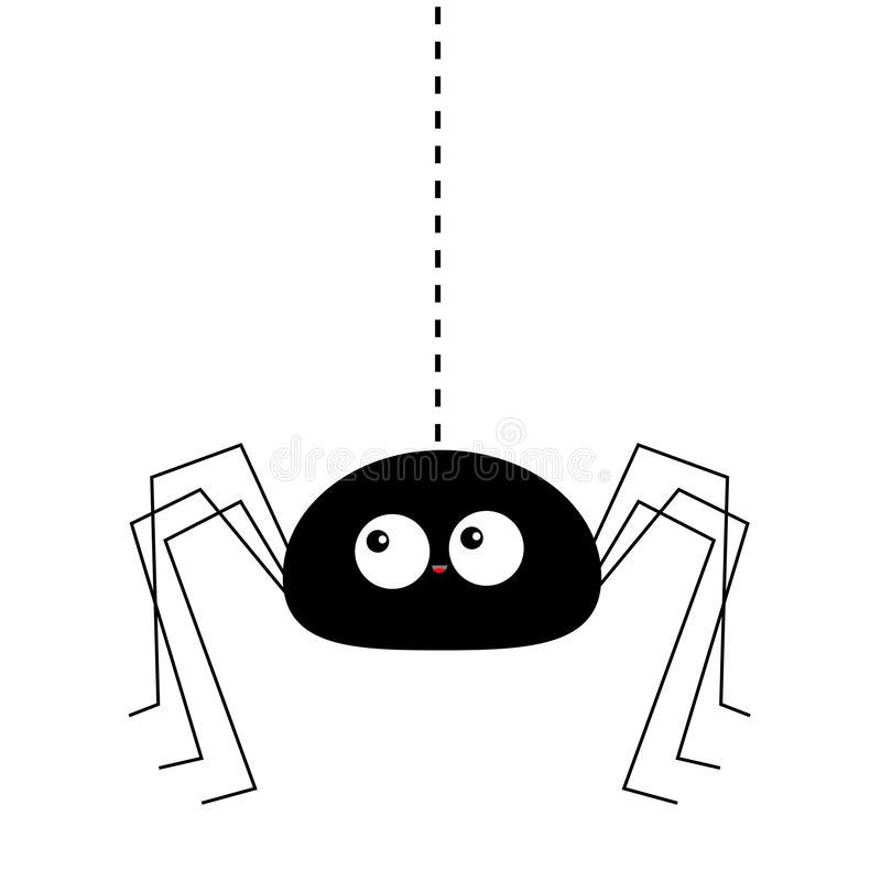 Black spider silhouette hanging on dash line web. Long paws. Happy Halloween. Funny insect. Big eyes. Cute cartoon baby character. Flat material design. White royalty free illustration