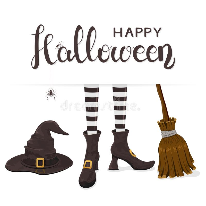 Text Happy Halloween with witches legs with hat and broom royalty free illustration