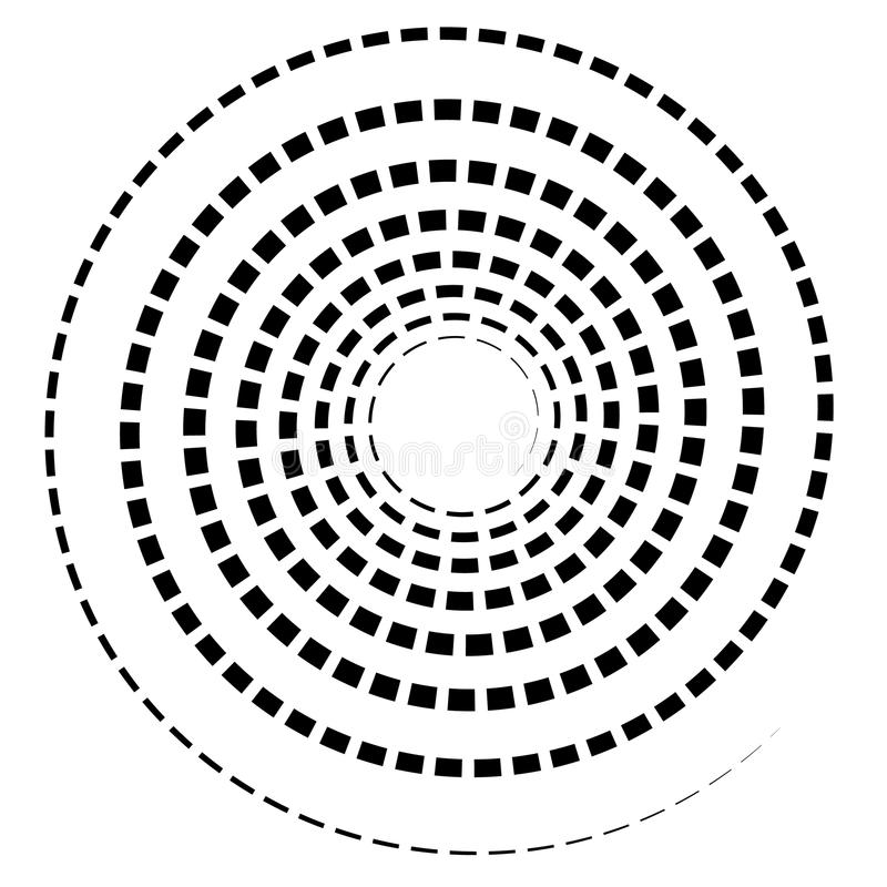 Black spiral element with dashed / segmented line on white. Royalty free vector illustration vector illustration