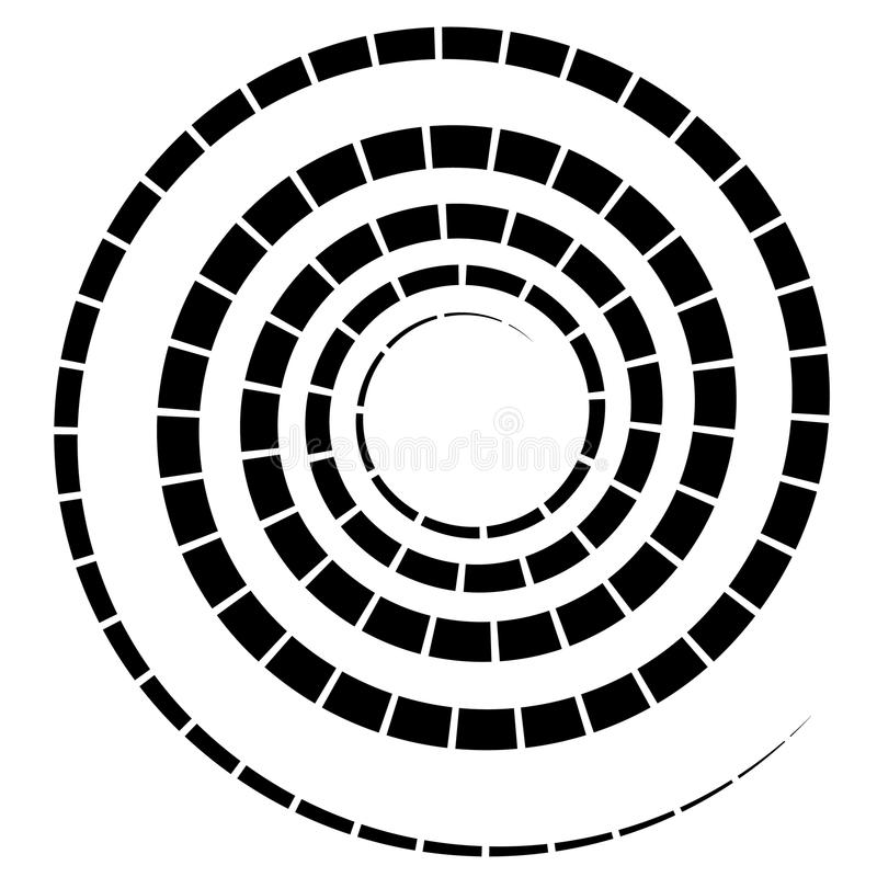 Black spiral element with dashed / segmented line on white. Royalty free vector illustration stock illustration