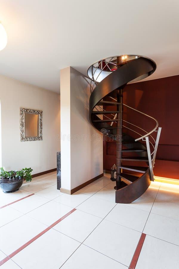 Black spiral stairs stock photos