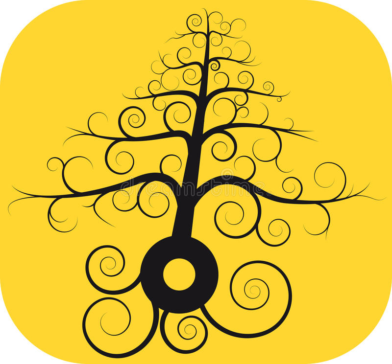 Download Black Spiral Tree With Root Stock Vector - Image: 19577706