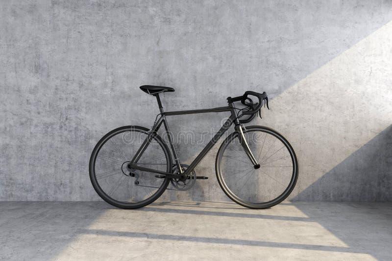 Black sport bike on concrete wall background stock image