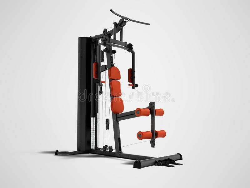 Black sport exerciser with an orange soft handrail for the legs. And hands for sports training isolated 3d render on gray background with shadow royalty free illustration
