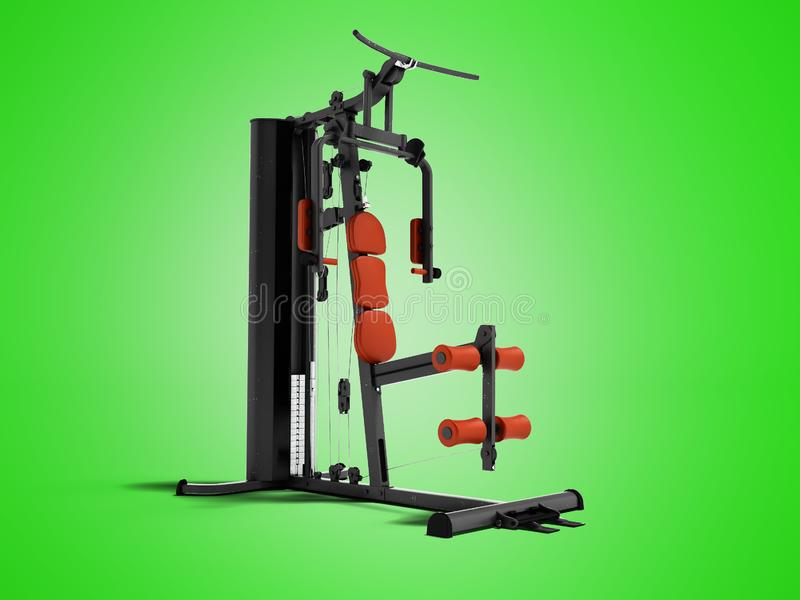 Black sport exerciser with an orange soft handrail for the legs. And hands for sports training isolated 3d render on green background with shadow stock illustration