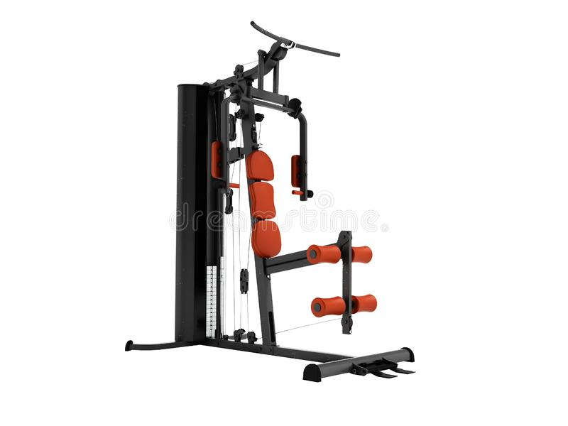Black sport exerciser with an orange soft handrail for the legs. And hands for sports training isolated 3d render on white background no shadow vector illustration