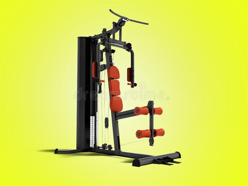 Black sport exerciser with an orange soft handrail for the legs. And hands for sports training isolated 3d render on yellow background with shadow royalty free illustration