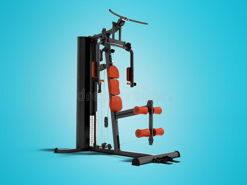 Black sport exerciser with an orange soft handrail for the legs and hands for sports training isolated 3d render on blue backgroun. D with shadow stock illustration