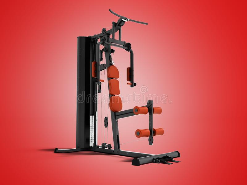 Black sport exerciser with an orange soft handrail for the legs. And hands for sports training isolated 3d render on red background with shadow vector illustration