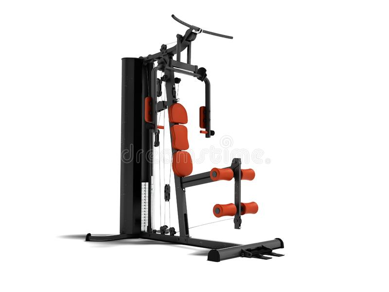 Black sport exerciser with an orange soft handrail for the legs. And hands for sports training isolated 3d render on white background with shadow vector illustration