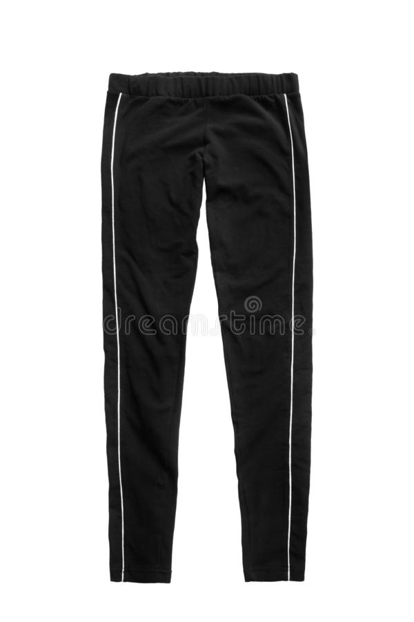 Sport pants isolated. Black sport leggings pants isolated over white royalty free stock photos