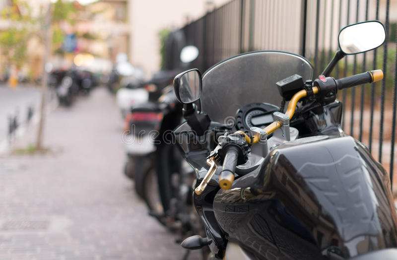 Black sport motorcycle. royalty free stock images