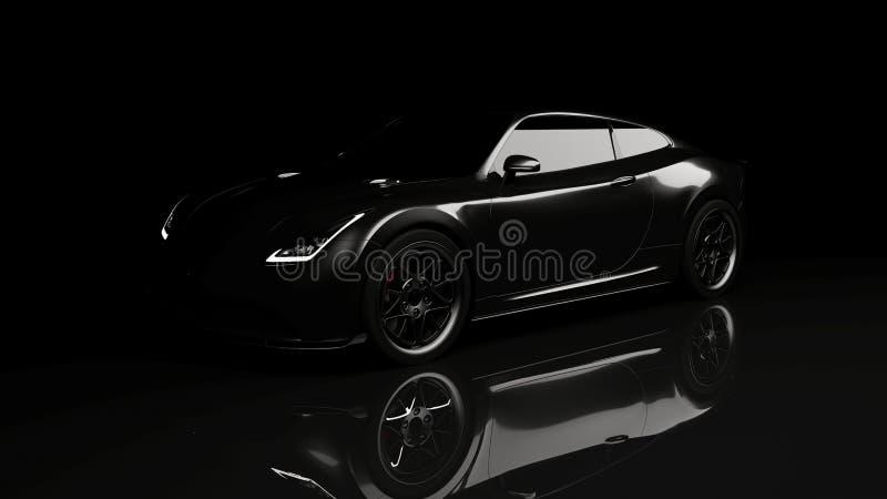 Black sports car on black. Background, 3d render, generic design, non-branded stock images