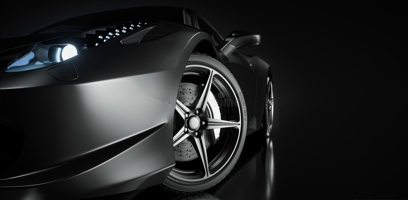 Black sports car. 3d render. illstration stock illustration