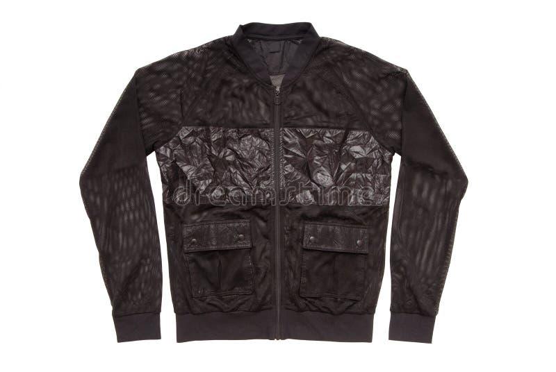 Black sports jacket, unisex sweatshirt on white, isolated varsi royalty free stock photos