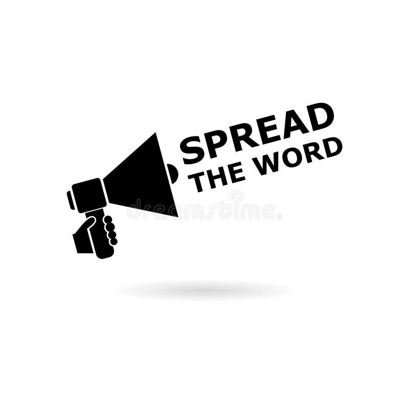Black Spread the Word Share Information Bullhorn Megaphone icon or logo stock illustration