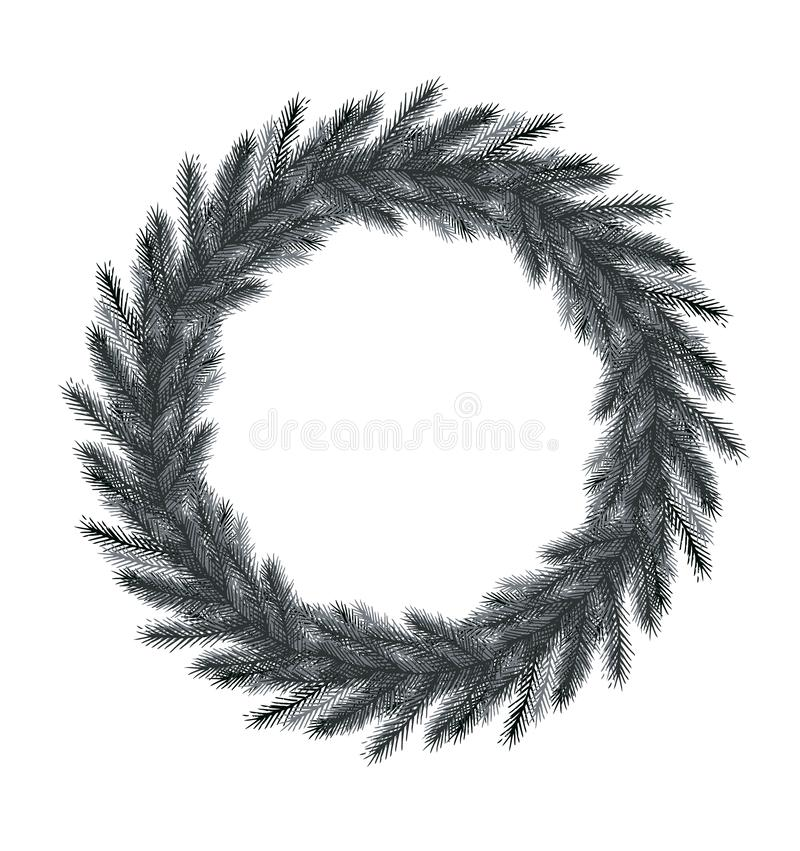 Black Spruce Wreath Without Text. Black Hand Drawn Christmas Tree Branches Isolated on a White Background. Round Shape Frame Made of Spruce Twigs ideal for Card royalty free illustration
