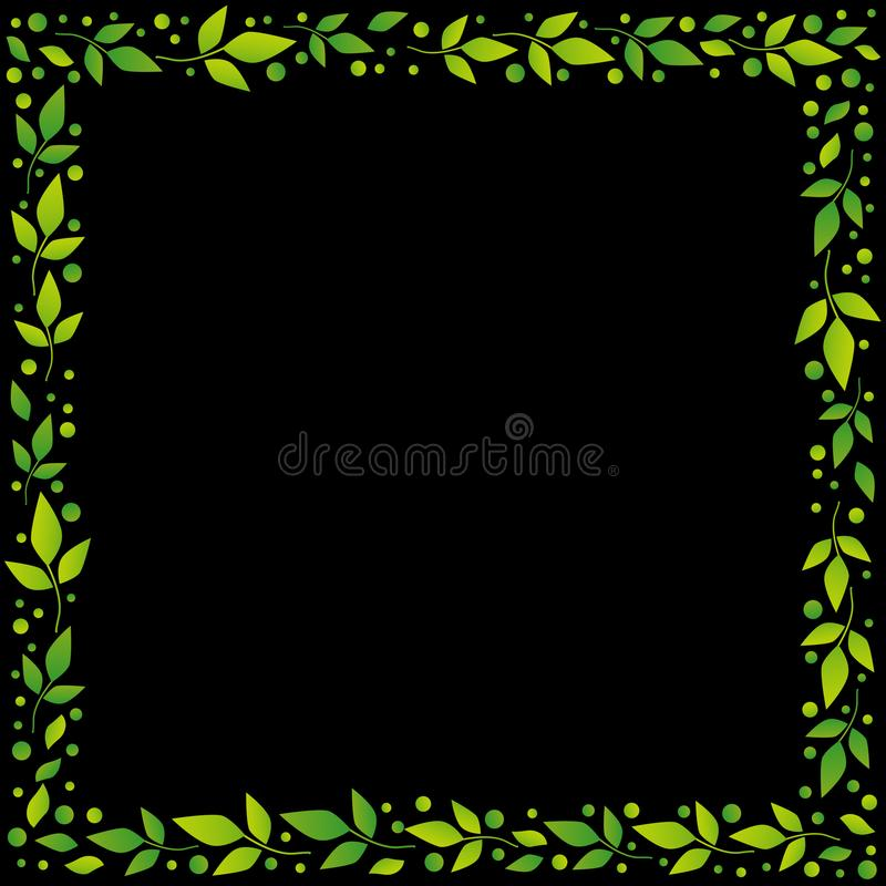 Black square background with decorative frame of green leaves and dots vector illustration