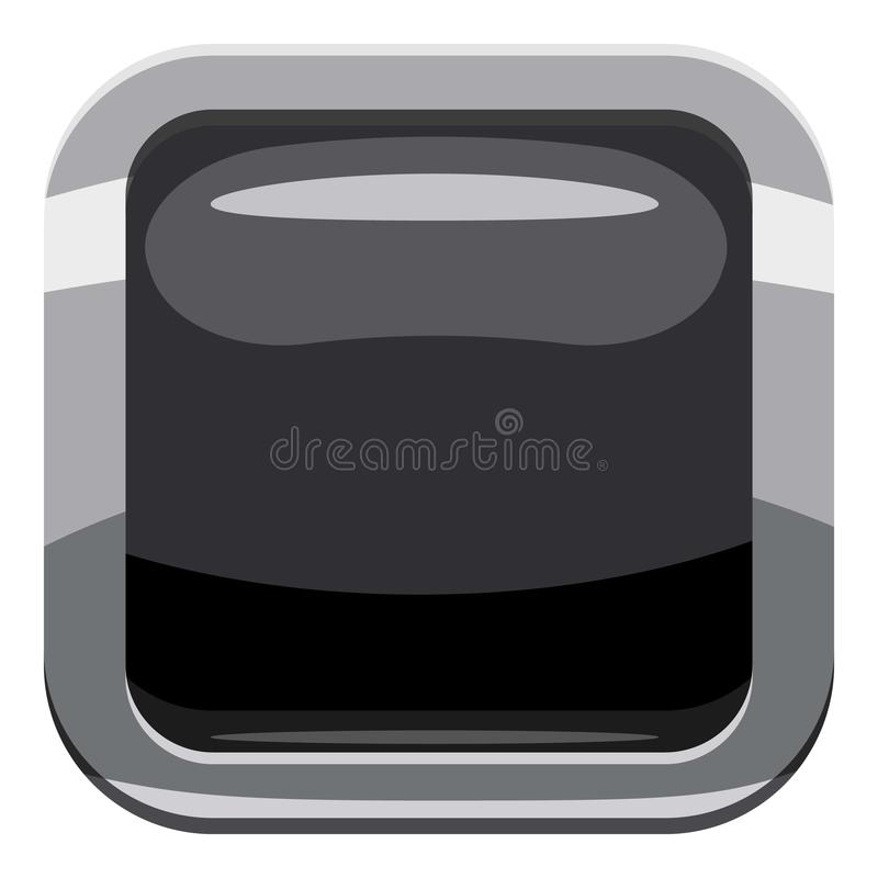 Black square button icon, cartoon style royalty free illustration
