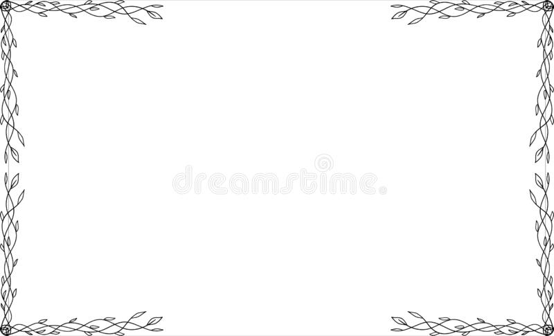 Black square narute frames, design elements. Sketch hand drawn. Decorative border royalty free illustration