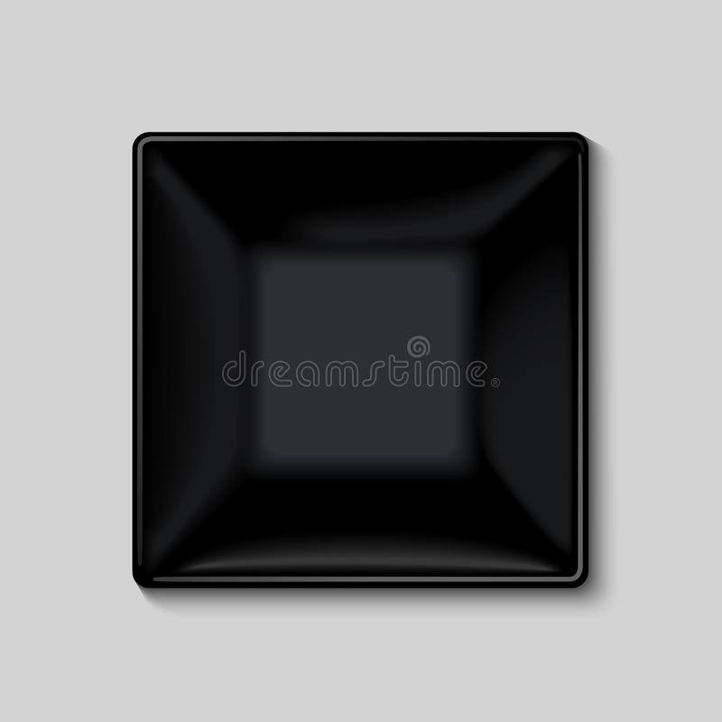 Black square plate. Isolated on white background stock illustration