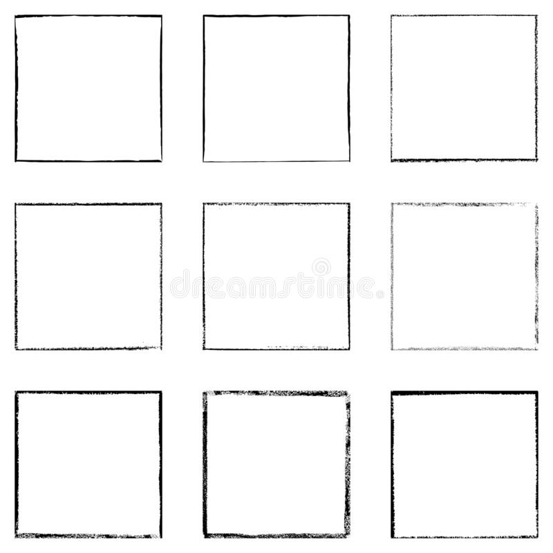 Grunge Square Frames. Black square shape distress overlay frame background set. Abstract Grunge thin dirty backdrop. Used aged border template. Shabby edge basis royalty free illustration