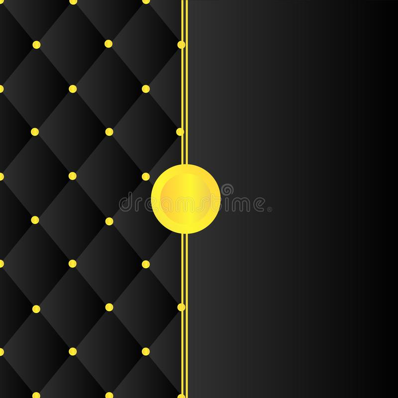 Black square shape pattern and gold pin cover stock illustration