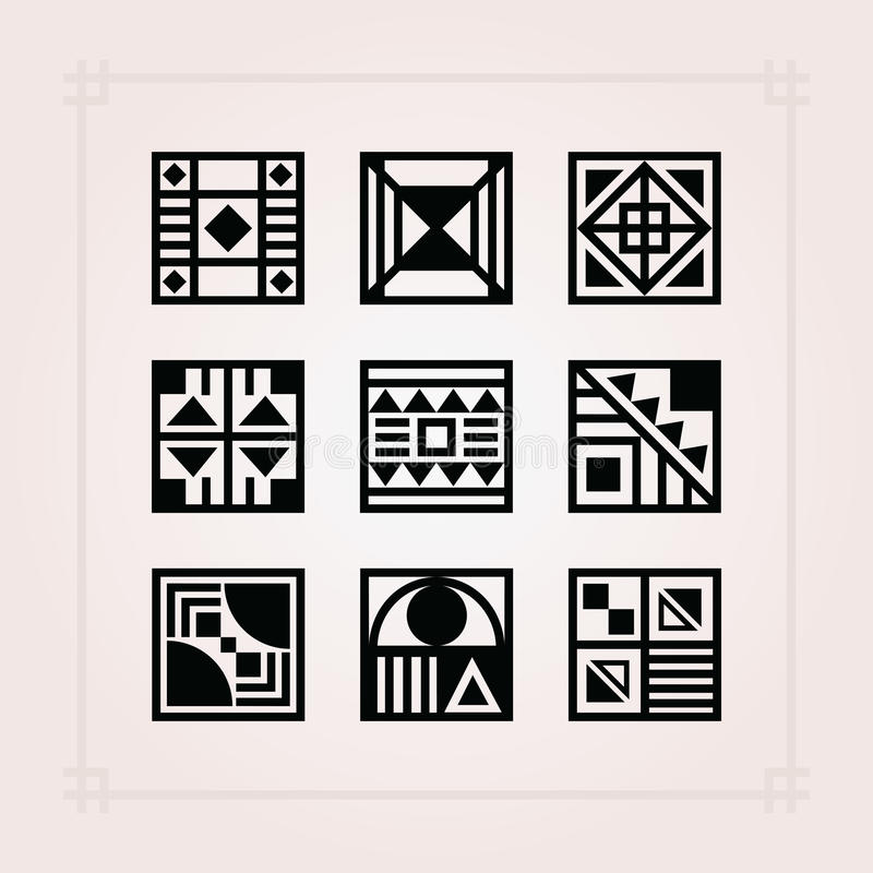 Black square shape patterns tiles icons set on pink background vector illustration