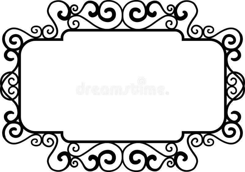 Black square vintage frames, design elements. Sketch hand drawn. Decorative border royalty free illustration