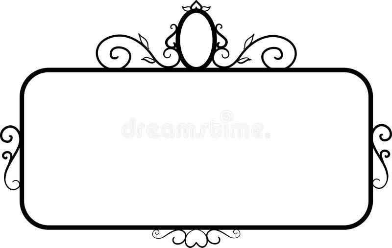 Black square vintage frames, design elements. Sketch hand drawn. Decorative border. Vector illustration isolated bacjground stock illustration