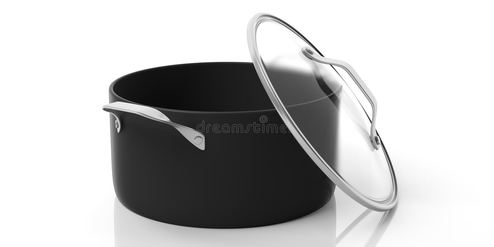 Black stainless steel cooking pot isolated on white background. 3d illustration vector illustration