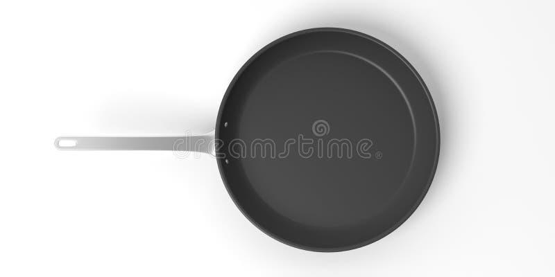 Black stainless steel frying pan isolated on white background. 3d illustration vector illustration