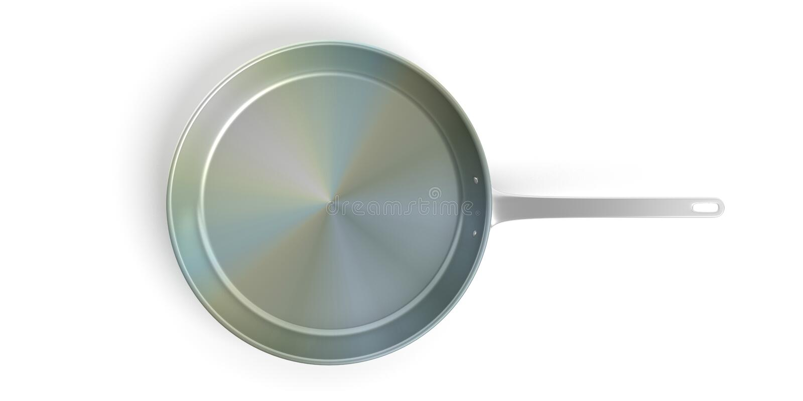 Black stainless steel frying pan isolated on white background. 3d illustration. Chrome empty stainless steel frying pan isolated on white background, top view vector illustration