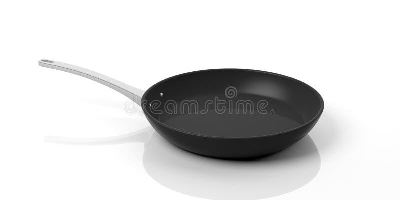 Black stainless steel pan isolated on white background. 3d illustration stock illustration