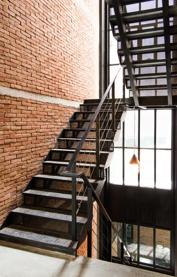 The black stairs with loft style. royalty free stock photo