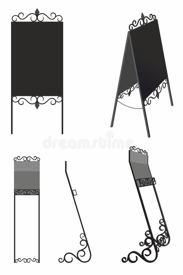 Black stands for Newspapers and booklets, Forged tablet for inscriptions. Forged black stands for Newspapers and booklets, Forged tablet for inscriptions stock illustration