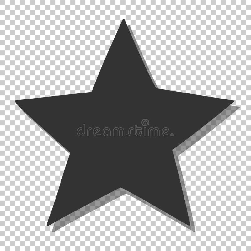 Black star icon. Simple clipart, template for rating, space and sky. Isolated on white background, silhouette, favorite, feedback, rate, positive, opinion stock illustration