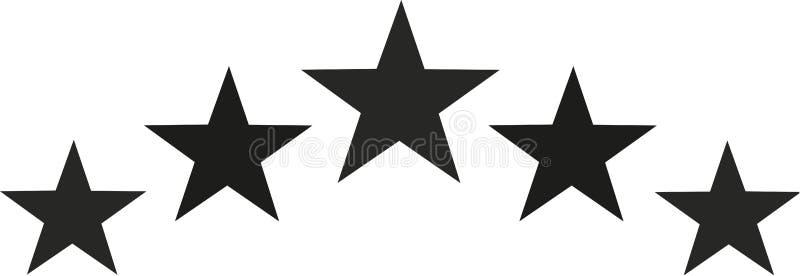 Black star set in half circle shape stock illustration