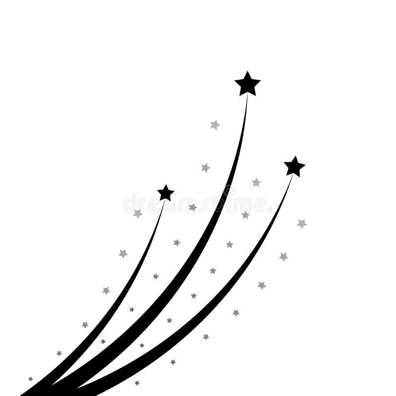 Black Star Soaring with Elegant Star Trail on White Background stock illustration