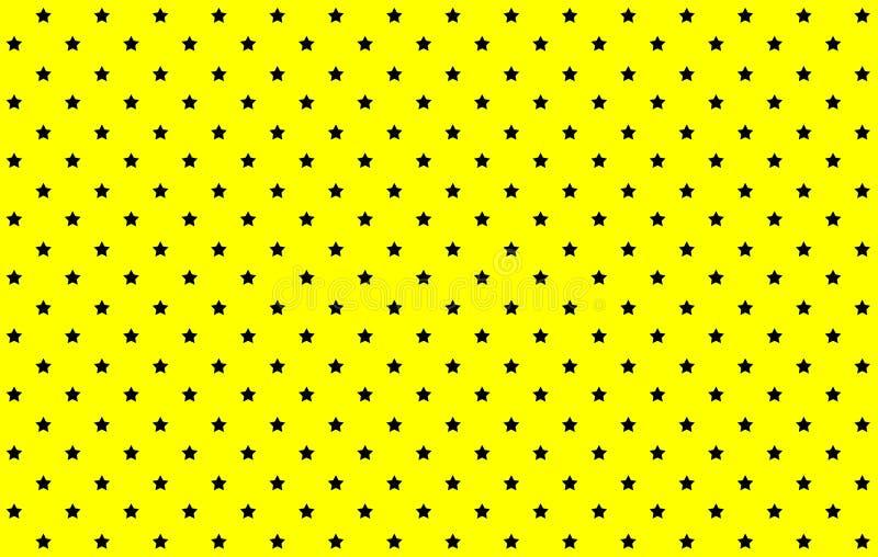 Black stars seamless pattern on yellow background. Illustration design. Fabric, cloth, paper, small, dress, shirt, skirt, wallpaper, art, backdrop, beautiful royalty free stock photos