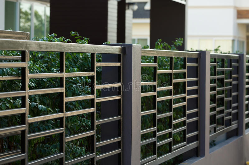 Black Steel Fence Of Residential House Modern Stock Image