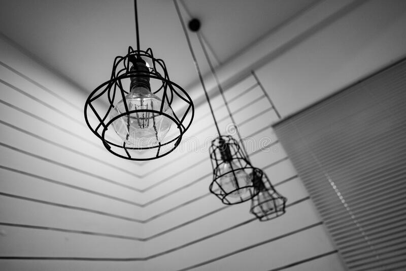 Black Steel Framed Round Pendant Lamp Indoors Near Window Blinds On Grayscale Free Public Domain Cc0 Image