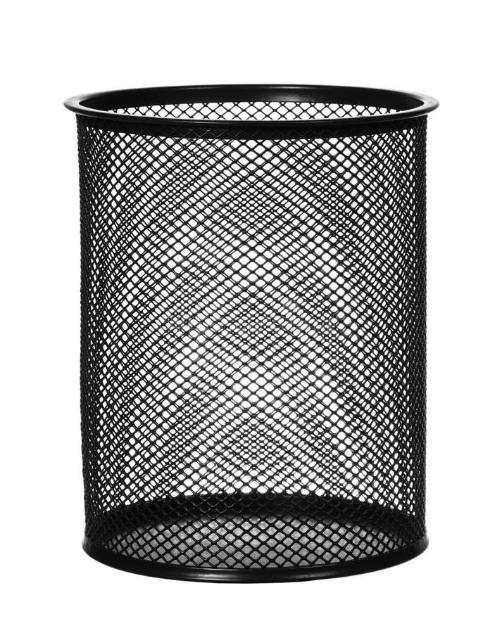 Black steel waste bin isolated royalty free stock image