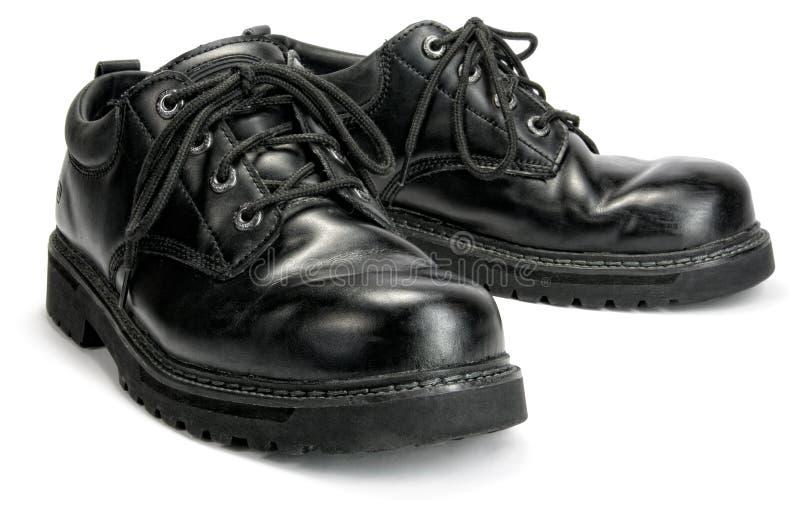 Black Steel toe Work shoes stock photo