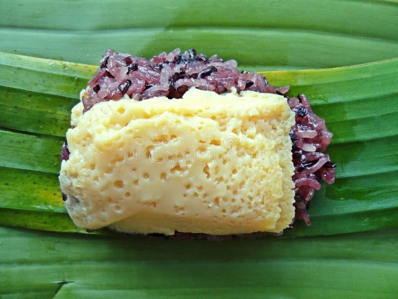 Black sticky rice Thai custard :Thai sweet dessert.  stock photography